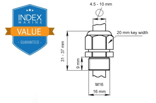 IMCG16 M16 Screw Cable Gland Dimensions